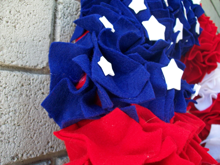 Flag wreath stars closeup