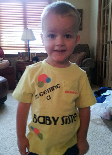 Nathan in his Baby Sister shirt
