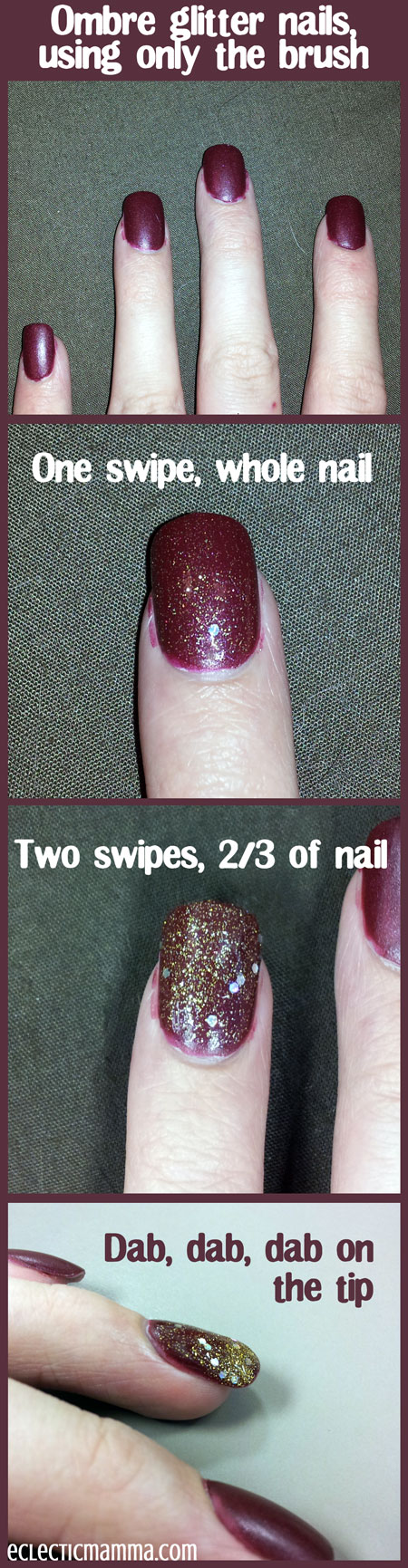 Ombre glittered nail directions
