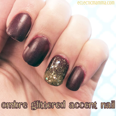 Ombre glittered accent nail